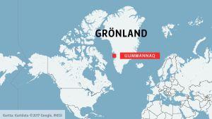 Karta där man ser var på Grönland Uummannaq ligger.