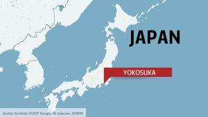 Karta där man ser var Yokosuka finns.