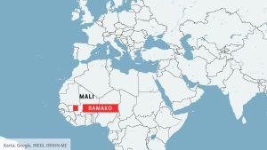 Karta över Mali och huvudstaden Bamako.