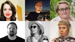 Bildcollage av Eva Franz, Janne Strang, Ellen Strömberg, Janne Wass, Peppe Öhman och Ida Henriksson.