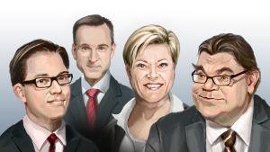 Illustration som föreställer Jimmie Åkesson, Kristian Thulesen Dahl, Siv Jensen och Timo Soini.