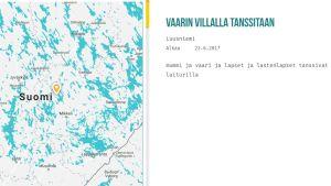 Kartta ja kuvaus Luusniemen juhannusjuhlista.