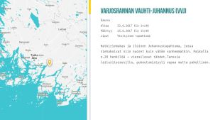 Kartta ja kuvaus Sauvon juhannusjuhlista.