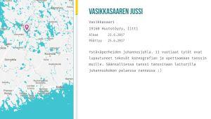 Kartta ja kuvaus Vasikkasaaren juhannusjuhlista.
