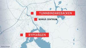 Karta över centrala Borgå