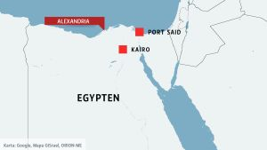Karta över Egypten med kuststäderna Alexandria och Port Said uppe i nprr samt Kairo.