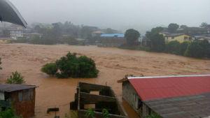 Lerskred nära Freetown den 14 augusti 2017.