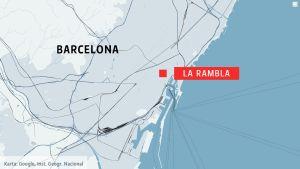 Karta som visar La Rambla i Barcelona