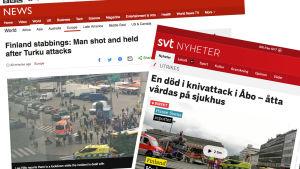 Skärmdump av BBC och SVT i samband med knivattacken i Åbo.