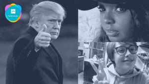 Ett kollage av en bild på Donald Trump och ungdomarna Courtney Meola och Cristina Abel.