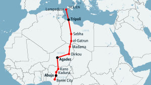 Rutten genom Afrika till Sicilien.