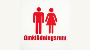 Logo med man och kvinna och texten omklädningsrum