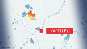 Karta över brand i Lappträsk
