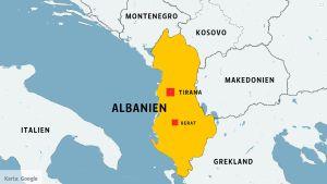 Karta över Albanien.