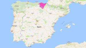 En karta över Spanien där regionen Baskien är markerat med lila.