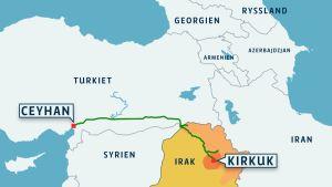 Karta över Mellanöstern med oljeledning från Irakiska Kurdistan till Turkiet.