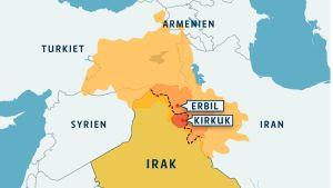 Karta över kurdområdena i Mellanöstern.