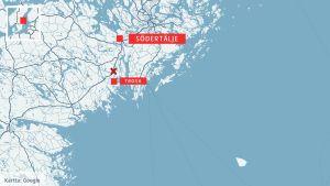 Karta över området i Sverige där ett regionaltåg krockade med en stridsvagn.