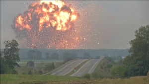 Explosion i ammunitionslager i Ukraina 26.9.2017.
