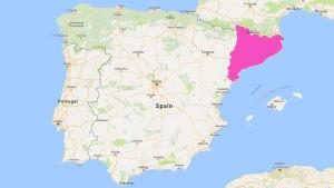 En karta över Spanien där regionen Katalonien är markerat med lila.