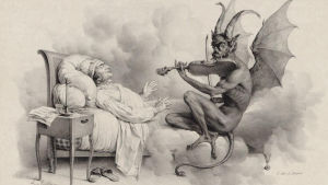 Djävulen spelar violin för Giuseppe Tartini i en dröm. Målning av Louis-Léopold Boilly.