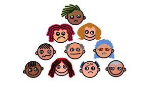 olika tecknade ansikten