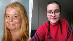 Hanna Saarijärvi och Karolina Junell. Hanna har blont hår och ler (ett gammalt skolfoto). Karolina har glasögon, flätor och en röd tröja.