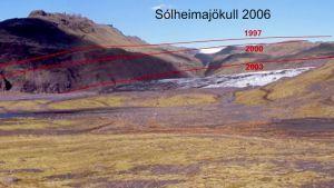 Här ser man hur Sólheimajökull har minskat på höjden
