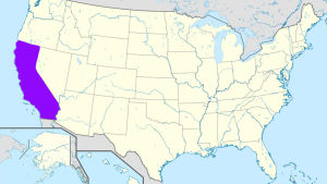 En karta över USA där Kalifornien är färglagt med lila.