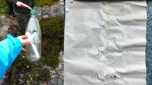 Två bilder ihopsatta till en. Bilden till vänster visar en hand som håller i en flaskpost. Bilden till höger är ett handskrivet brev.