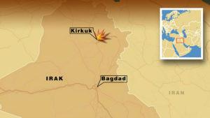 Karta över irak med Bagdad och Kirkuk.