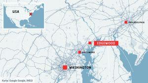 Karta som visar var Edgewood, Maryland är beläget.