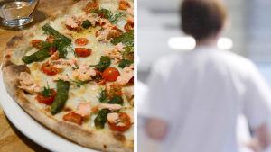 pizza till vänster, sjukvårdspersonal till höger