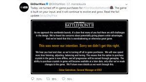 Skärmdump av EA och DICE twitter där man meddelar att mikrotransaktionerna tas bort