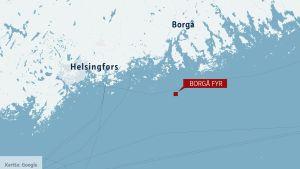 Karta över finska viken med borgå fyr markerad.