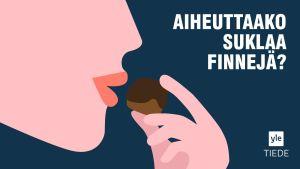 piirretty nainen syö suklaata