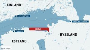 Karta över Estland och Ryssland med Narva.