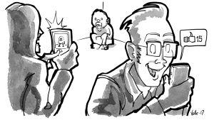 Vanhemmat ottavat kuvia potalla istuvasta taaperosta ja jakavat sen sosiaaliseen mediaan, jossa saavat tykkäyksiä.
