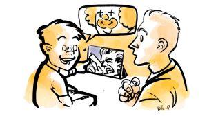 Lapsi osoittaa isän katsomaa toimintaelokuvaa ja toteaa että hän näkee kuvassa pellen.