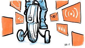 Lapsi ajaa polkupyörää apupyörillä, ympärillä Internetin teknisiä symboleita.