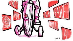 Lapsi ajaa polkupyörää apupyörillä, ympärillä valeuutisiin liittyviä symboleita.