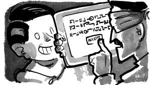 Poika ojentaa tablettia. Isä silmät sidottuina painaa ACCEPT-nappia tuntemattomalla kielellä kirjoitetuista käyttöehdoista.