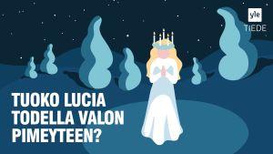 Piirretty Lucia-neito valaisee lumisen maiseman.