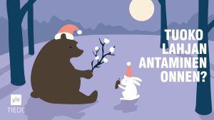 piirretty karhu ja jänis lahjoittavat toisilleen lahjoja