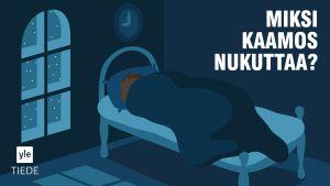 piirretty henkilö nukkuu vuoteessa