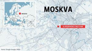 Karva som visar var Slavyansky Bulvar stationär belägen.