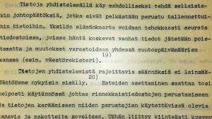 Konekirjoitettua tekstiä, Tietosuojatoimikunnan mietintö 1972