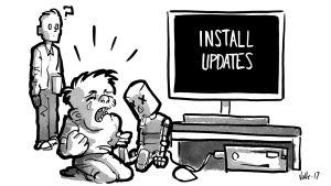 Lapsi itkee kun tietokone sanoo VIRUS WARNING. Isä ihmettelee vieressä.