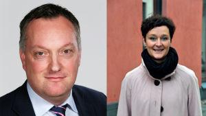 Johan Åberg, direktör för jordbruksärenden, MTK (till vänster) och Birgitta Wahlberg, polities doktor, expert på djurrätt (till höger).