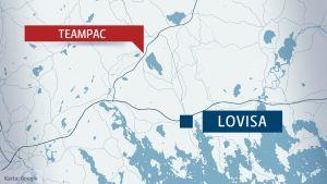Karta över Teampac och Lovisa centrum